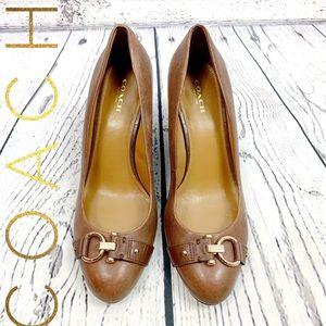 Coach Romalia Brown Leather Wedge Heels